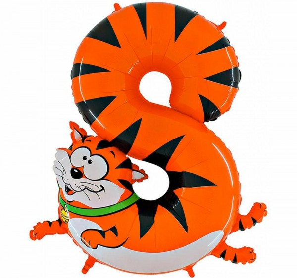 "Grabo Folienballon Zahl 8 Animaloon Katze 100cm/40"""