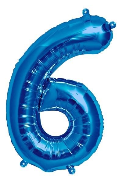"Northstar Folienballon Zahl 6 Blue 16"""
