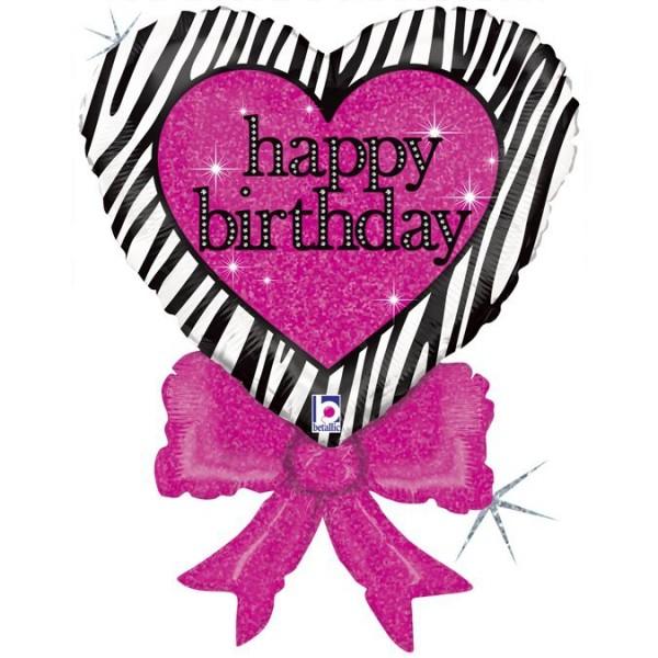 "Betallic Folienballon Birthday Zebra Heart Bow 76cm/30"""