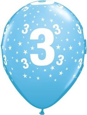"Qualatex Latexballon Age 3 Stars Blau 28cm/11"" 6 Stück"