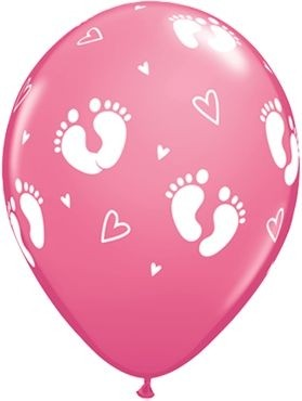 "Qualatex Latexballon Baby Footprints & Hearts Rose 28cm/11"" 25 Stück"