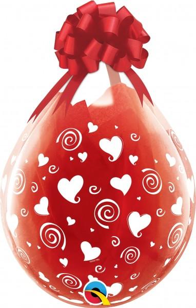 "Qualatex Verpackungsballon Swirling White Hearts-A-Round Diamond Clear 45cm/18"" 25 Stück"