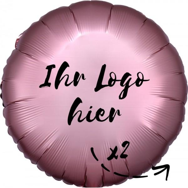 """Folien-Werbeballon Rund Satin Luxe Rose Copper 45cm/18"""" 2-Seitig bedruckt"""