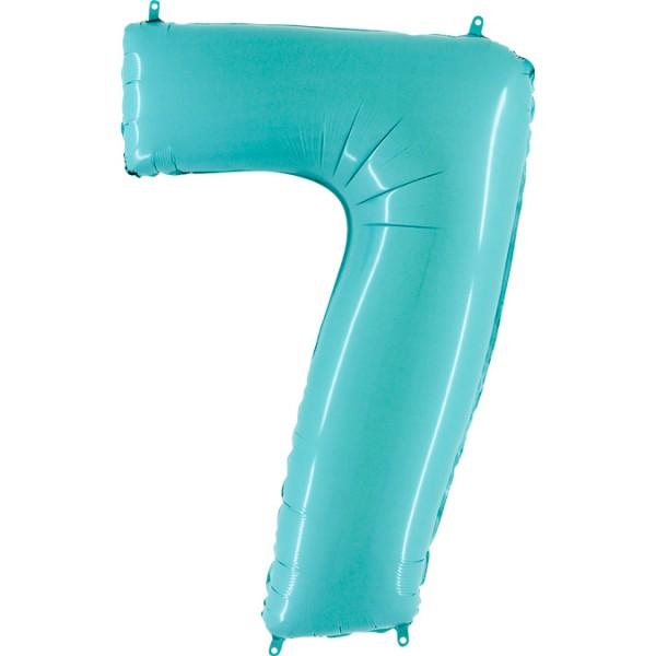 "Grabo Folienballon Zahl 7 Pastel Blue 100cm/40"""