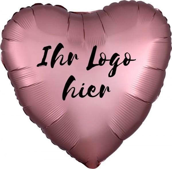 "Folien-Werbeballon Herz Satin Luxe Rose Cooper 45cm/18"" 1-Seitig bedruckt"
