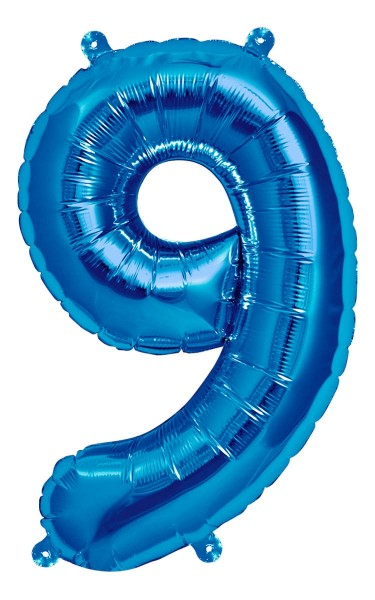 "Northstar Folienballon Zahl 9 Blue 16"""