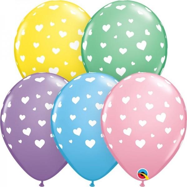 "Qualatex Latexballon Random Hearts-A-Round 28cm/11"" 25 Stück"