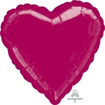 Anagram Folienballon Herz 45cm Durchmesser Burgund (Burgundy)