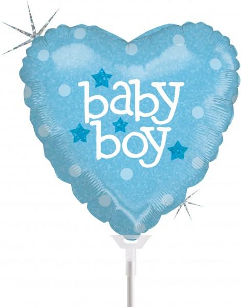 "Betallic Folienballon Baby Heart Boy Holographic 23cm/9"" luftgefüllt inkl. Stab"