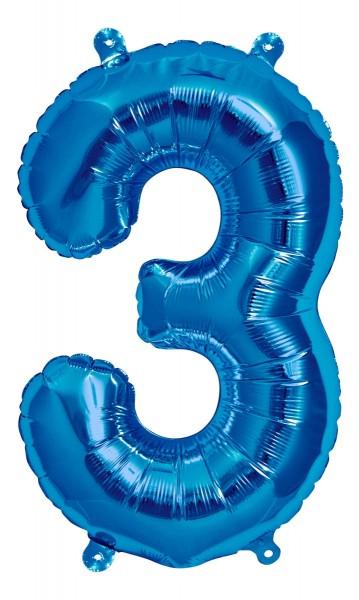 "Northstar Folienballon Zahl 3 Blue 16"""