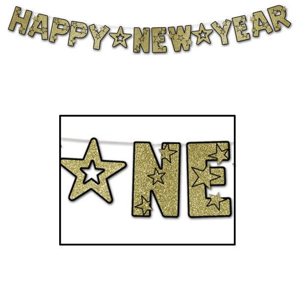 "Beistle Glitzer-Silvester-Girlande ""Happy New Year"" Schwarz & Gold"