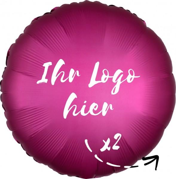 """Folien-Werbeballon Rund Satin Luxe Pomegranate 45cm/18"""" 2-Seitig bedruckt"""