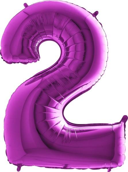 "Grabo Folienballon Zahl 2 Purple 100cm/40"""