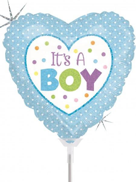 "Betallic Folienballon Baby Boy Dots Holographic 23cm/9"" luftgefüllt inkl. Stab"