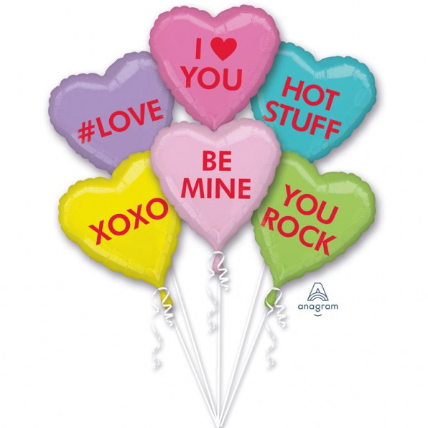 "Anagram Folienballon Bouquet ""'Love, Hot Stuff, XOXO, Be Mine, You Rock"""