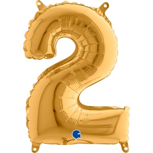 "Grabo Folienballon Gold 36cm/14"" Zahl 2"