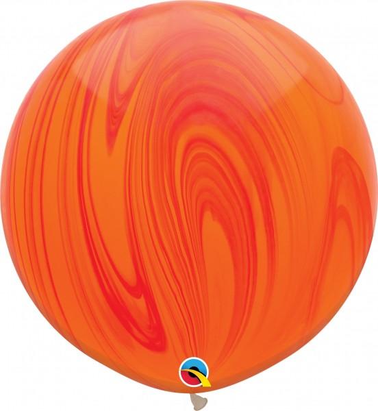 "Qualatex Latexballon Red Orange Rainbow SuperAgate 75cm/30"" 2 Stück"