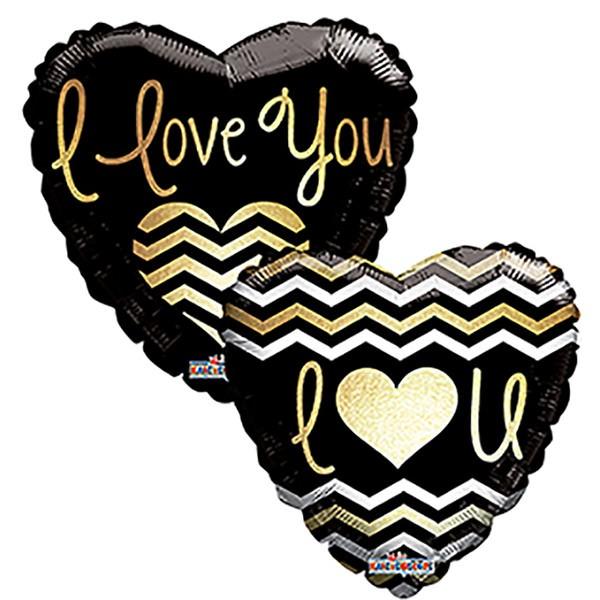 """Kaleidoscope Folienballon I Love You, goldene Schrift 18"""" S"""