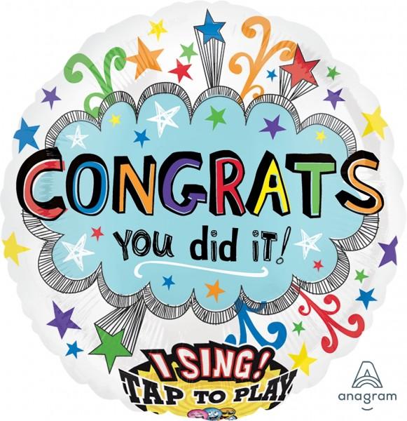 "Anagram Folienballon Sing-A-Tune ""Congrats You Did it"" 70cm/28"""