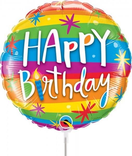 "Qualatex Folienballon Happy Birthday Rainbow 23cm/9"" luftgefüllt inkl. Stab"