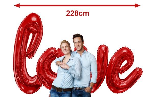 Helium Star 50er Einweggasflasche-Set mit love-Schriftzug Rot, 4x Ballongewicht + Bänder