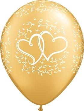 "Qualatex Latexballon Entwined Hearts Metallic Gold 28cm/11"" 6 Stück"