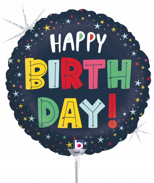 "Betallic Folienballon Birthday Colourful Stars 23cm/9"" luftgefüllt inkl. Stab"