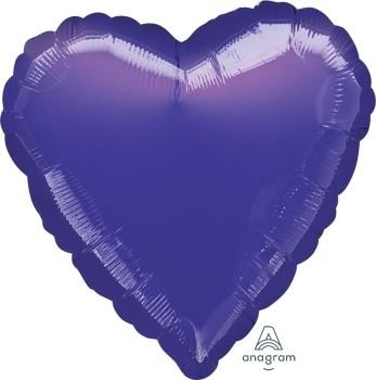 Anagram Folienballon Herz 45cm Durchmesser Metallic Lila (Metallic Purple)