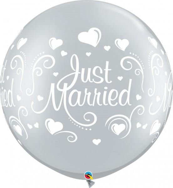 "Qualatex Latexballon Just Married Hearts Metallic Silver 75cm/30"" 2 Stück"