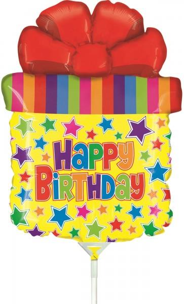 """Betallic Folienballon Mini Birthday Present SQ 35cm/14"""" luftgefüllt inkl. Stab"""