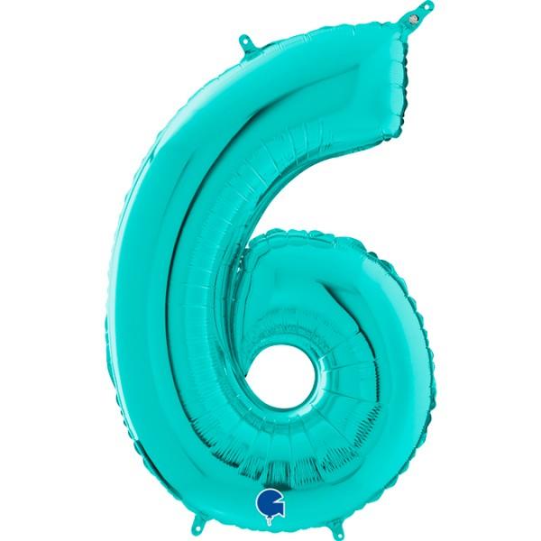 "Grabo Folienballon Zahl 6 Tiffany 66cm/26"""