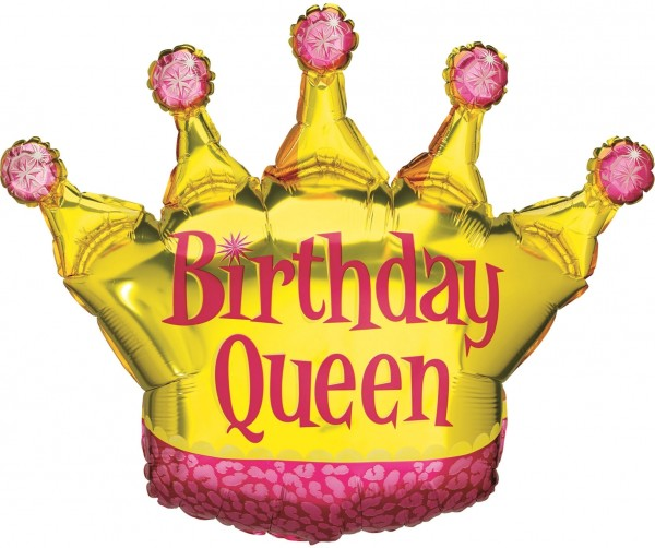 "Betallic Folienballon Birthday Queen 90cm/36"""