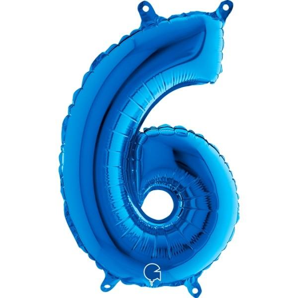 "Grabo Folienballon Blau 36cm/14"" Zahl 6"