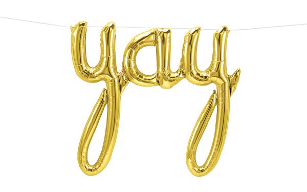 "Northstar Folienballon Yay Script Gold 45"""
