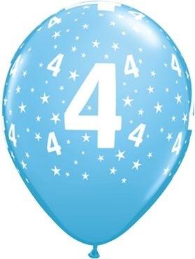 "Qualatex Latexballon Age 4 Stars Blau 28cm/11"" 6 Stück"