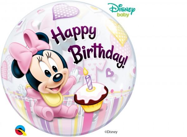 "Qualatex Bubbles Minnie Mouse 1st Birthday 56cm/22"""