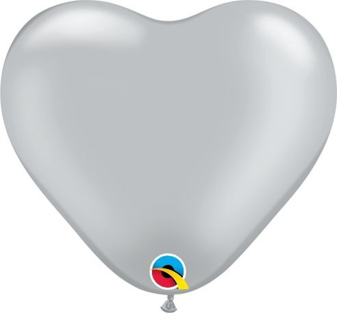 "Qualatex Latexballon Metallic Silver Heart 15cm/6"" 100 Stück"