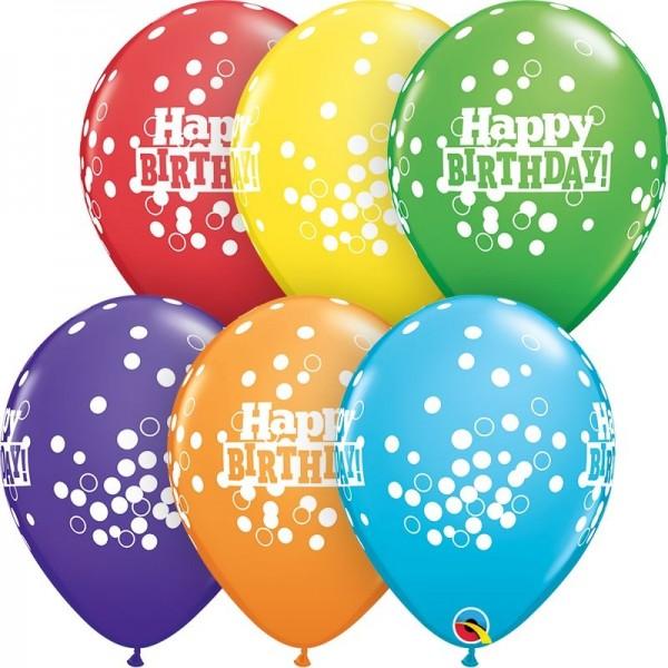 "Qualatex Latexballon Birthday Confetti Dots Bright Rainbow Assortment 28cm/11"" 25 Stück"