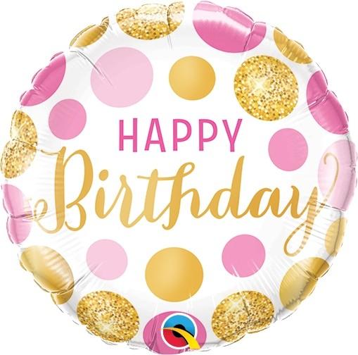 "Qualatex Folienballon Birthday Pink & Gold Dots 23cm/9"""