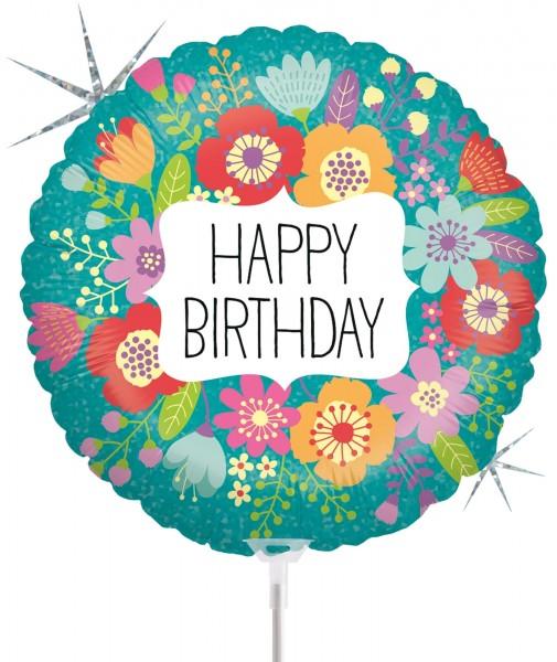 "Betallic Folienballon Wildflowers Birthday Holographic 23cm/9"" luftgefüllt inkl. Stab"