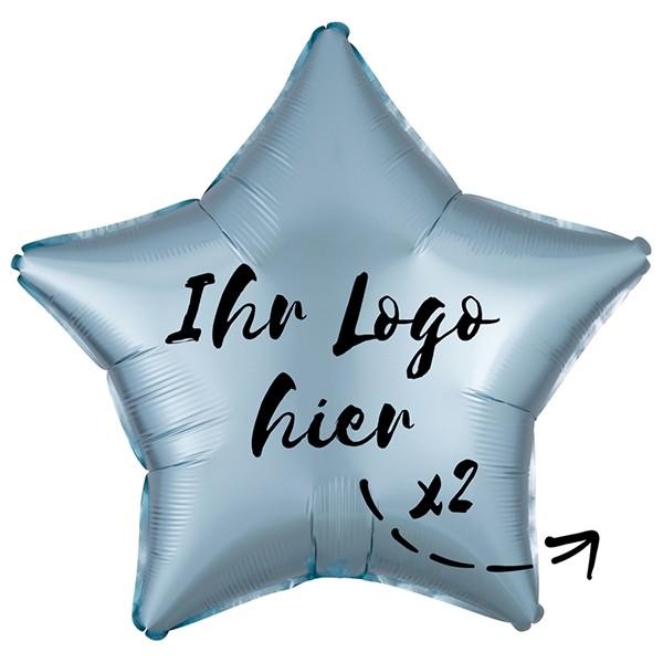 "Folien-Werbeballon Stern Satin Luxe Pastel Blue 50cm/20"" 2-Seitig bedruckt"