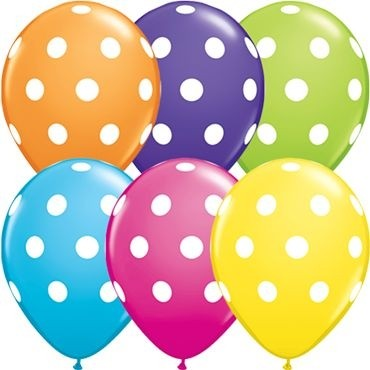"Qualatex Latexballon Big Polka Dots Tropical Assorted 28cm/11"" 50 Stück"