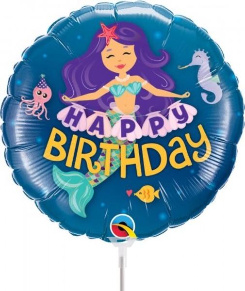 "Qualatex Folienballon Happy Birthday Mermaid 23cm/9"" luftgefüllt inkl. Stab"