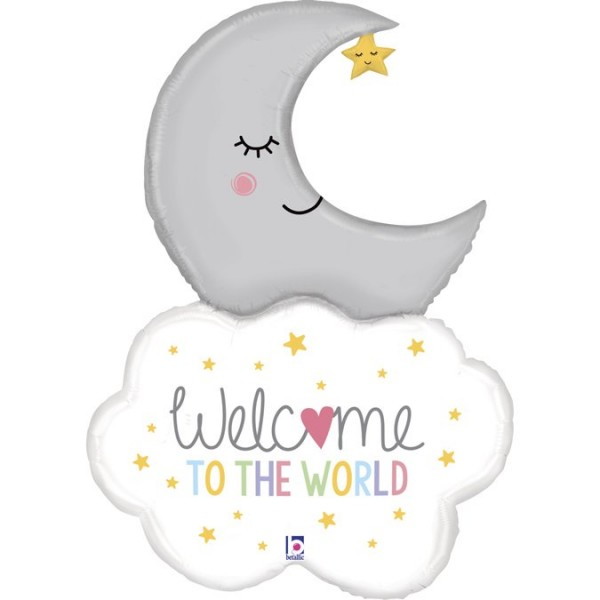 Betallic Folienballon Welcome To The World Mond mit Wolke 107cm/42""