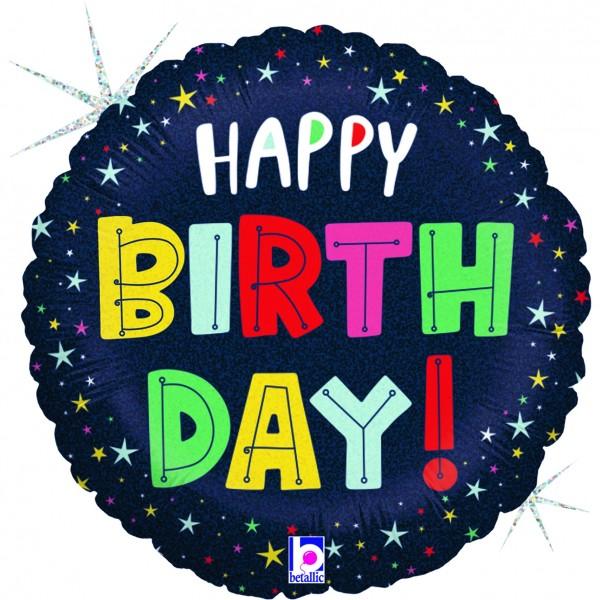 "Betalic Folienballon Birthday Colourful Stars 23cm/9"""