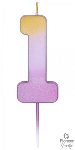 Pioneer Kerze Rosegold Zahl 1 7cm