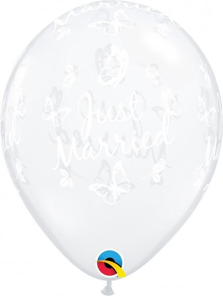 """Qualatex Latexballon Just Married Butterflies 28cm/11"""" 25 Stück"""