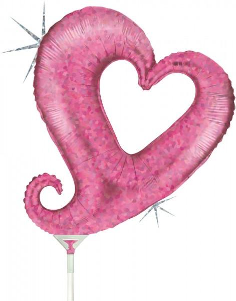 "Grabo Folienballon Chain of Hearts Pink Holographic Mini 35cm/14"" luftgefüllt inkl. Stab"
