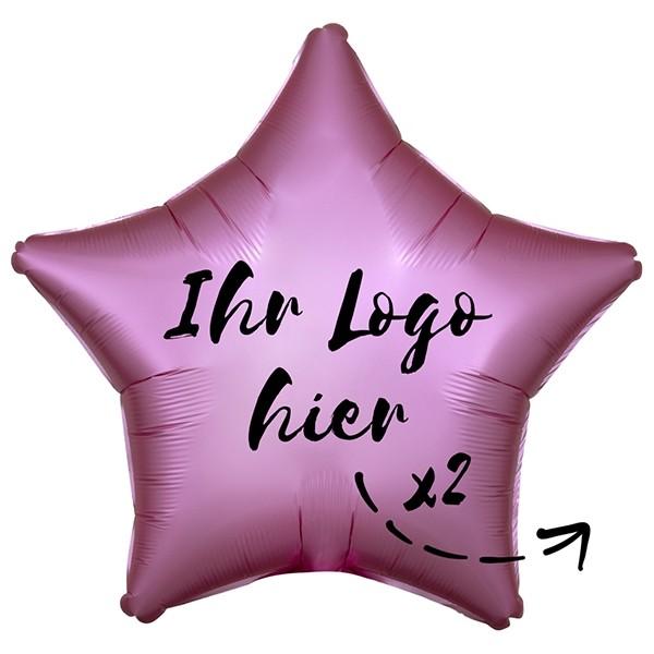 "Folien-Werbeballon Stern Satin Luxe Flamingo 50cm/20"" 2-Seitig bedruckt"