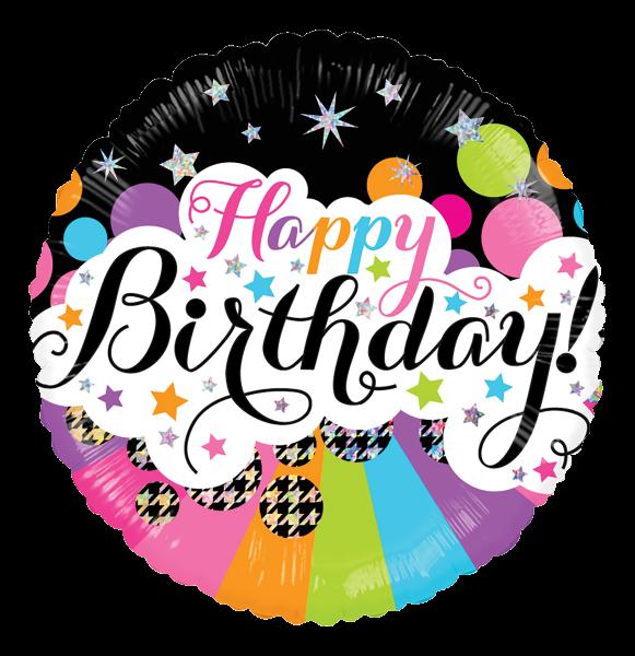 "Kaleidoscope Folienballon ""Happy Birthday - Bunte Sterne"", 18"""